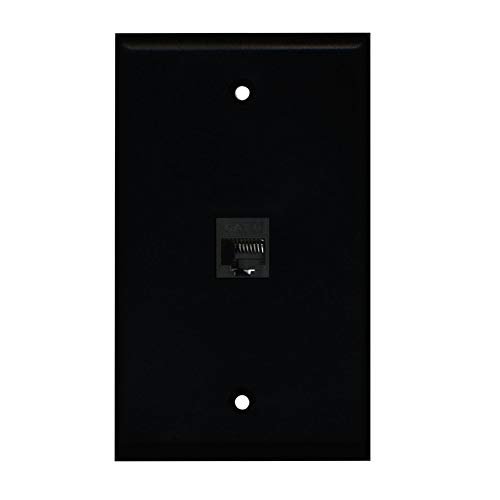 BUPLDET 1 Port Ethernet Wall Plate - Cat6 RJ45 Ethernet Wall Plate Female to Female Faceplate - Black