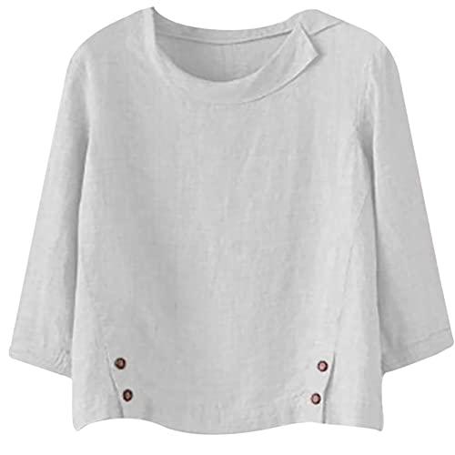 Masrin Leinen Oberteile für Damen Sommer Herbst dünner Pullover Vintage Hemd mit Umlegekragen, locker Plus Size Langarm-Tunika-Bluse mit O-Ausschnitt(XL,Weiß)
