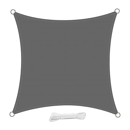 swift Toldo Vela de Sombra Cuadrado 5x5 Metro PES Impermeable Protección Rayos UV para Patio Exteriores Jardín, Color Gris