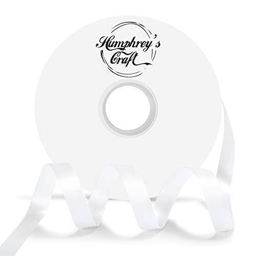 Humphrey's Craft 1/2 Inch White Double Faced Satin Ribbon - 50 Yards Variety of Color for Crafts Gift Wrapping DIY Bows Bouquet Decoration Sewing Christmas Tree Wedding and Invitation Card.