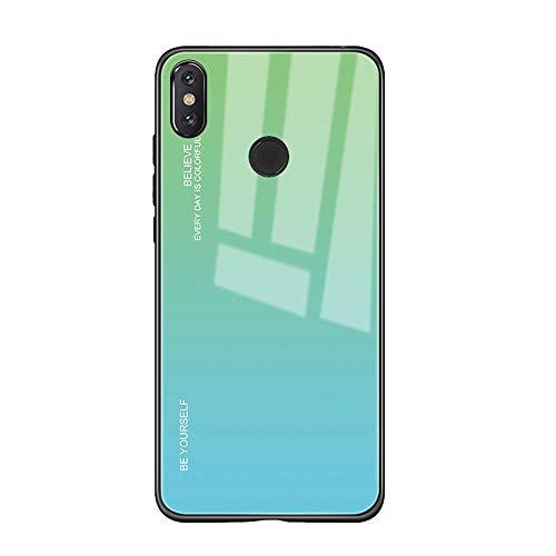 Custodia Compatibile con Xiaomi Mi Mix 2S Cover,Ultra-Sottile Ibrido Nero Silicone Morbido + Back-Vetro Temperato Dura Protettiva Case per Mi Mix 2S(Gradiente) (Xiaomi Mi Mix 2S, 6)
