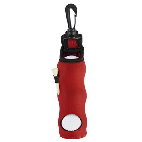 LBJN Bolsa pequeña portátil para Pelota de Golf, Soporte para Camisetas de Golf, Estuche de Almacenamiento, Bolsa de Neopreno con Clip Giratorio para cinturón (Color : Red)