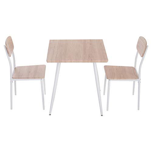 HOMCOM 3-teilige Essgruppe Sitzgruppe Esstisch Set MDF + Metall Naturholzmaserung + Weiß mit 1 Tisch + 2 Stühlen