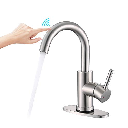 Bar Sink Faucet, ARRISEA Single Handle Touch Bathroom Sink Faucet with 6 Inch Deck Plate, Brushed Nickel 360 Degree Swivel Smart Faucet for Lavatory Sink