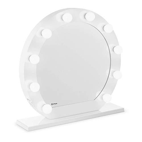 Physa Espejo Hollywood De Maquillaje PHY-CM-12 White (Marco Blanco, 10 Bombillas LED 6.400 K / CRI 80, Redondo, con Enchufe, USB)