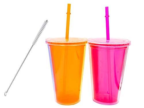 LM ML Confezione da 2 Bicchieri di plastica riutilizzabili con Doppio Isolamento per Bevande Fredde e frullati + Spazzola per Pulire Cannuccia - Confezione Trasparente Senza BPA 500 ml Blu, Arancione