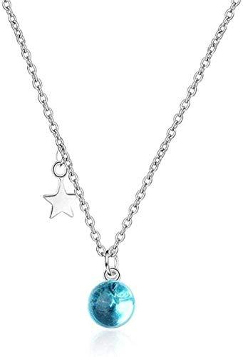 BACKZY MXJP Collar Literatura Bola Azul Cristal Estrella Colgante Collar Mujer Collar De Cadena De Clavícula Corta Joyería De Plata Chica