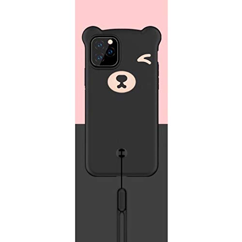 HüllerBay iPhone 11 Pro Max Hülle, 6.5 Zoll, 3D Bär Cartoon Kawaii Smooth Touch Silikon Flexible Handyhülle mit Abnehmbarer Handschlaufe, Schwarz