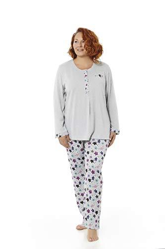 Mabel Intima Pijama Mujer Manga Larga Varios Tallas, Estampados y Colores. Tallas Grandes (Gris Estrellas, 66)
