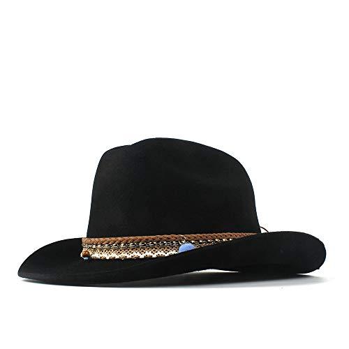 LQ-BNM Panamahut -Western Cowboyhut, Breitkrempiger Cowgirl Jazz Hut, Leder Quaste Bohemian Band Curling Cap 56-59CM (Farbe : Schwarz, Größe : 56-59cm)