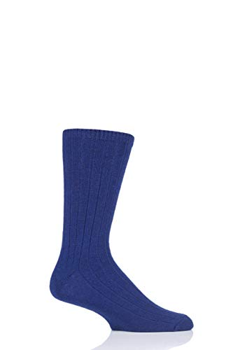 Herren 1 Paar SockShop von London 100prozent Kaschmir-Bett-Socken (Marine, 42-44)