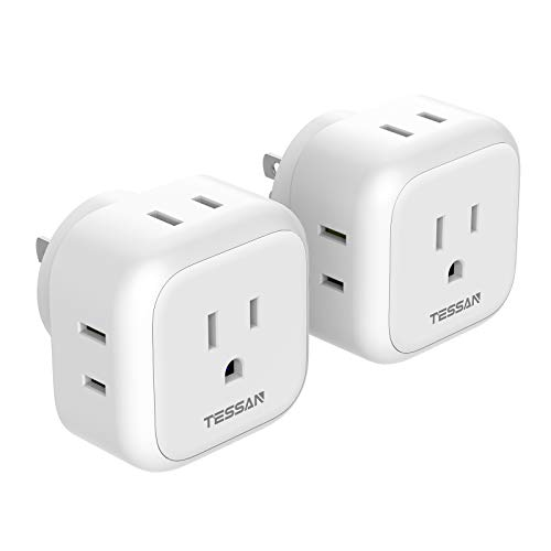 Multi Plug Outlet Extender, TESSAN Multiple Plug Splitter with 4 Electrical Outlets, 2 Packs Wall Tap Power Plug Expander for Cruise Ship Home Office Dorm Essentials, White