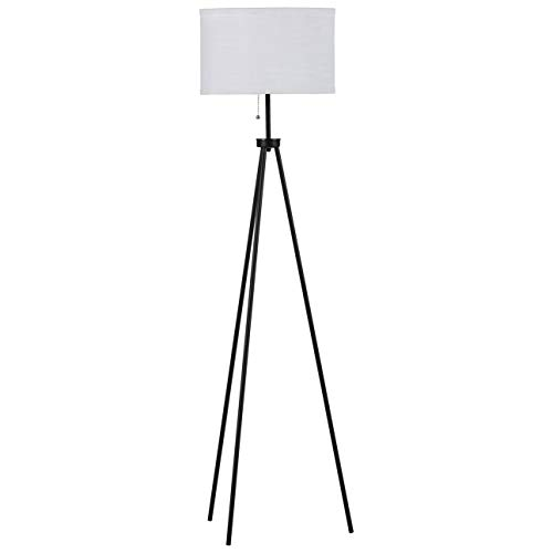 Rivet Mid-Century Modern Tripod Décor Living Room Standing Floor Lamp with Light Bulb and Drum Shade, 58'H, Brushed Steel