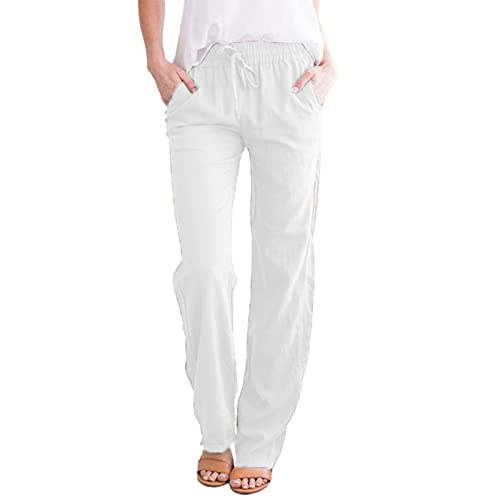 kankanba Summer Elastic Waist Drawstring Pants for Women Casual Linen Trousers with Pockets White