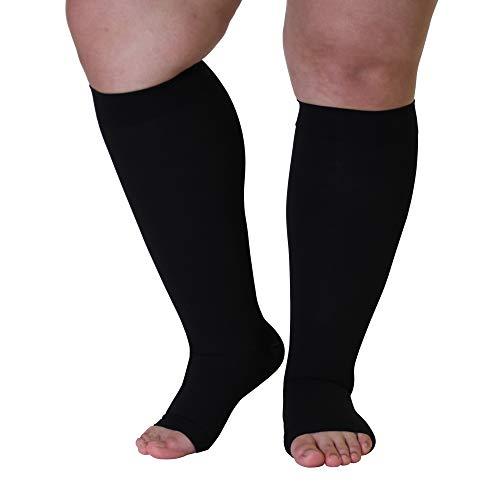 4X-Large Mojo Plus Size Compression Socks 20-30mmHg Knee-Hi Extra Wide Support Stockings   Open Toe   Black XXXX-L