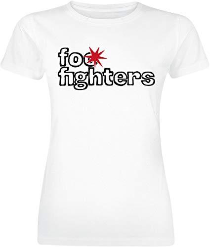 Foo Fighters Logo Mujer Camiseta Blanco S, 100% algodón, Regular