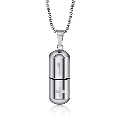 DFGHJK Collar para Hombres Cool Men's Punk Open Capsule Collar Perfume Bottle Pill Cross Cadena De Colgantes De Acero Inoxidable para Mujeres Suéter 42300