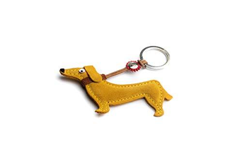Dallaiti Design Schlüsselanhänger aus Veloursleder mit Ring aus Metall 11 cm, Golden (Gelb) - PCA035/14
