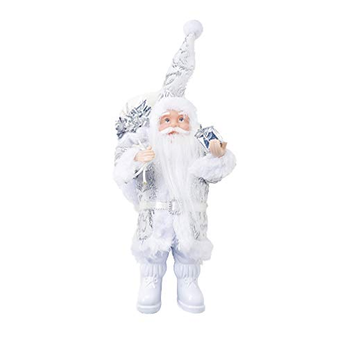 Amosfun Mini Santa Claus Christmas Standing Figure Red Xmas Decoration Ornament Doll Holiday Decoration Silver