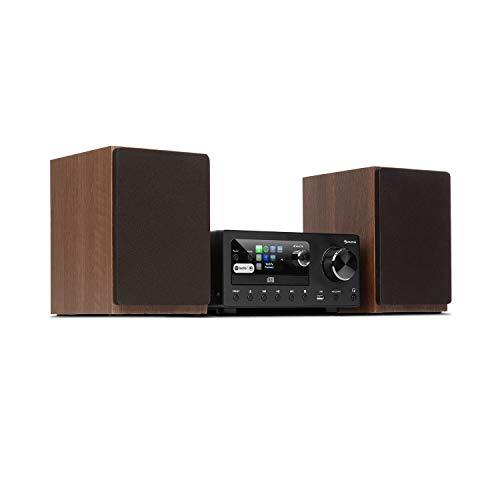 auna Connect System - Equipo de música, 2 Altavoces estéreo, Radio por Internet/Dab+/FM, Reproductor de CD, Puerto USB, Compatible con MP3, Bluetooth, Spotify Connect, Mando a Distancia, Antracita