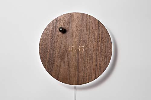 FLYTE Uhr Story, Wanduhr/Tischuhr digital, inklusive Timer, schwebendem Zeiger und LED-Hintergrundbeleuchtung, Walnuss