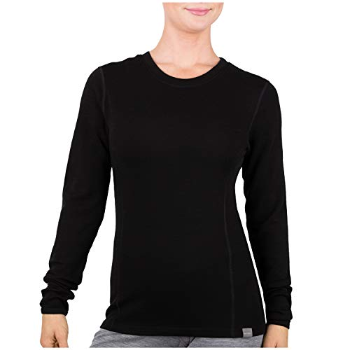 MERIWOOL Womens Base Layer 100% Merino Wool Midweight Long Sleeve Thermal Shirt Black