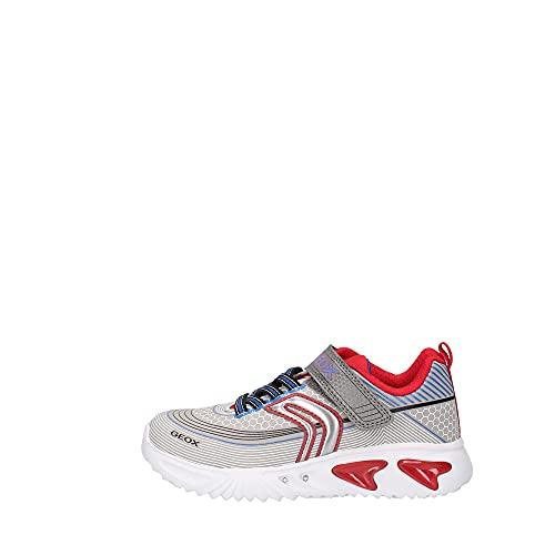 Geox Zapatillas deportivas para niño Assister Boy, plantilla suelta, luz intermitente, color Gris, talla 27 EU