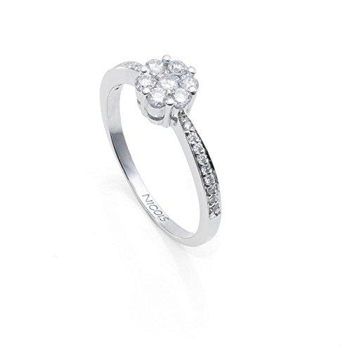 NICOLS 14710031111 - Anillo Diamantes Rosetón DIAMOND CLASSIC NICOL´S. Fabricada en oro blanco y diamantes talla brillante. Peso total D0.49ct.