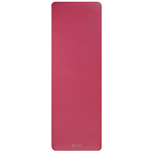 Gaiam Essentials Thick Yoga Mat Fitness & Exercise Mat With Easy-Cinch Yoga Mat Carrier Strap, Pink, 72 InchL X 24 InchW X 2/5 Inch Thick