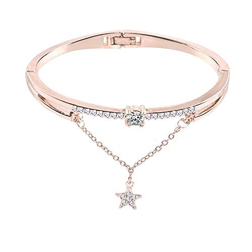 Bracelet for Women Heart Crystal Love Opening Bracelet Acrylic Colored Gemstone Star Pattern Synthetic Crystal Diamond Bangle Bracelet Women Girls Jewelry Gift Crystal Bracelet (#B-Rose Gold)