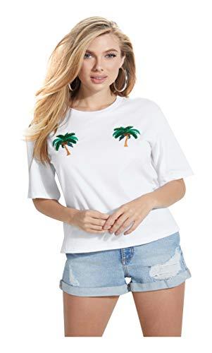 Guess Damen Ss Rn Marcela Tee T-Shirt, Bianco, XS