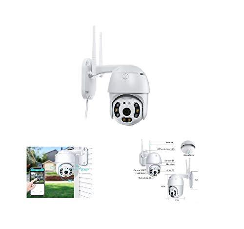 puntoluceled Cámara IP Cam WiFi Dome LED IR luz blanca MPX inalámbrica exterior Speed Micro SD PTZ conexión cable RJ