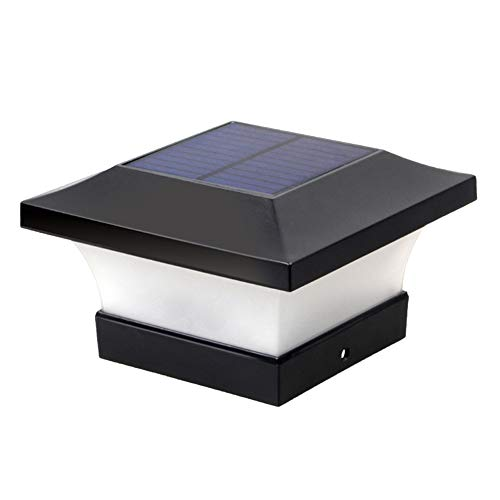 Henreal Ledlamp op zonne-energie, IP65 waterdichte led-solarpalen kap verlicht tuinverlichting zonne-zuil-schijnwerper-zuil-hek-palen-licht-decoratie in de buitenlucht