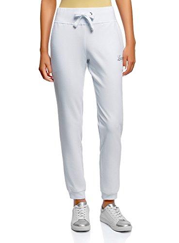 oodji Ultra Mujer Pantalones de Punto Deportivos, Blanco, L