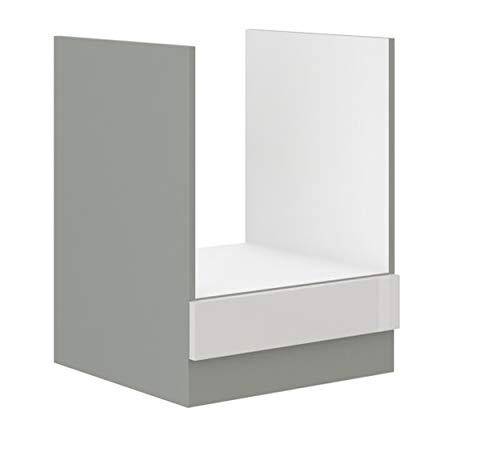 Herd Unterschrank 60 Bianca Weiß Hochglanz + Grau Küchenzeile Küchenblock