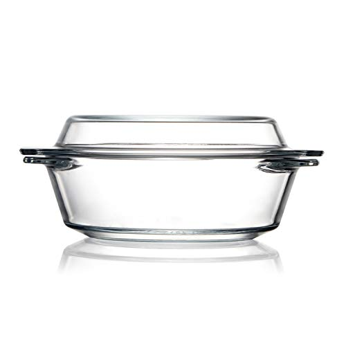 Clear Round Glass Casserole Dish With Lid Non-Plastic Lidded Casseroles Easy Grab Glass Cooking Bowls with Glass Lid, Microwave, Oven, Freezer, and Dishwasher Safe (0.65L)