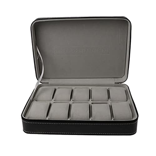 ZHUSHI 10-Fach Uhr Uhr Reißverschluss Koffer Leder Vitrine Aufbewahrungstasche stilvoll schwarz