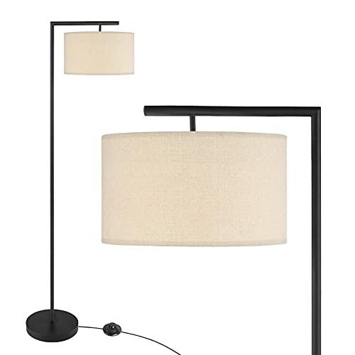 UFLIZOGH Lámpara de Pie Salon, 151cm Lámpara Moderna Clásica E27 LED Luz Cálida con Pantalla para Salón Dormitorio Estudio Oficina (Negro, sin bombillas)