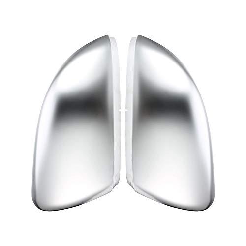 JUN-STORE SENMIAO-TH 2 Piezas for VW Golf GTI 7.5 MK7 MK6 6 7 R R20 Lateral del ala Fundas Espejo Caps de Plata Cromo Mate de Aluminio Cepillado (Color : Golf MK7)