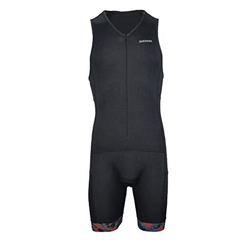 EMONDER Men's Triathlon Short Sleeve Tri Suit Breathable Quick Dry Team Skinsuit Bike Swim Run (Black_Red, XL)