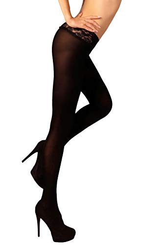 MILA MARUTTI Low Waist Tights Sheer & Opaque Hipsters Nylons for Women (S, Black)