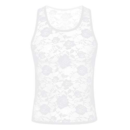 Freebily Lenceria Hombre Encaje Flores Negro Sexy Transparente Camiseta Interior Sin Mangas Ropa Erótica Tank Top Apretada Deportiva de Ciclismo Gimnasia Blanco X-Large