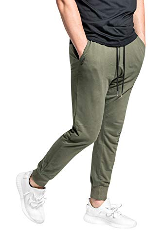 iconé joggingbroek heren en dames katoen - elegante sportbroek - slim fit - zwart grijs olijfgroen