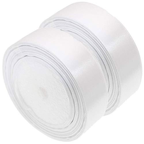 Nastro di raso, 40 mm x 44 m, bianco, rotolo di nastro di raso per cucito