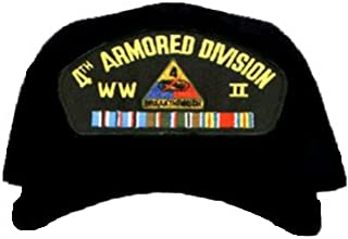 4TH ARMORED DIVISION WORLD WAR II * W/RIBBON EMBROIDERED EMBLEM BLACK Ball Cap/ Hat