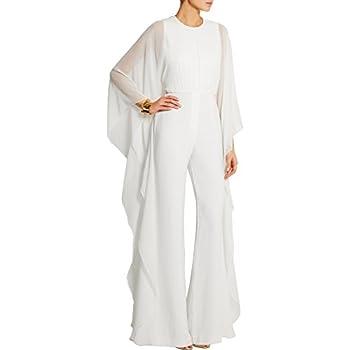 Engood Women s Jumpsuits Soild Cape High Waist Loose Long Wide Leg Jumpsuits Romper White XL