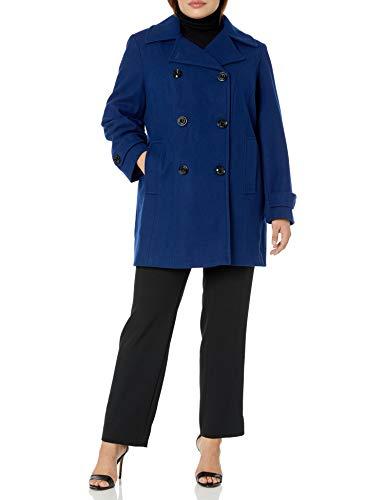 Anne Klein Damen Classic Double-Breasted Coat Caban-Jacke, Blau-Blue Print, 3X