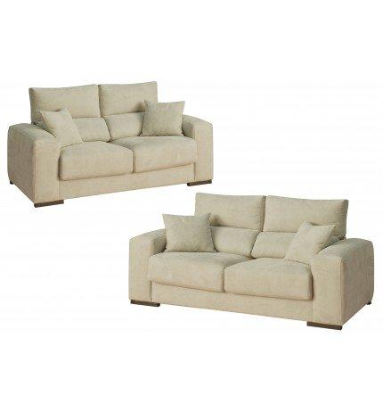 SHIITO Conjunto de sofás Tres mas Dos plazas tapizado en Tela en Color Crema