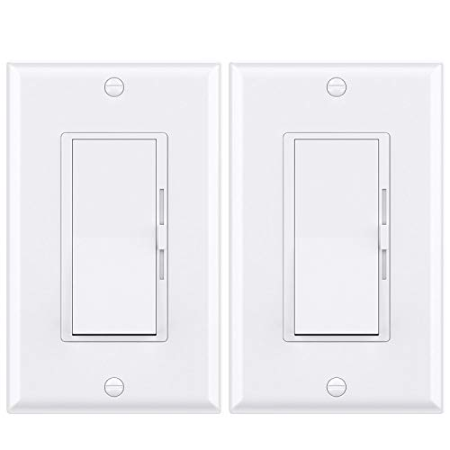 WEBANG Dimmer Light Switch for Dimmable LED, CFL, Incandescent and Halogen Bulbs, Single-Pole/ 3-Way SlidedimmerSwitch, Decorator Wall Plate Included, 120V AC, UL Listed, White 2 Pack