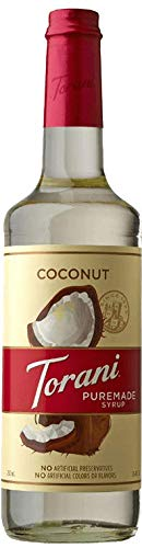 Torani Puremade Syrup, Coconut Flavor, Glass Bottle, Natural Flavors, 25.4 Fl. Oz., 750 mL